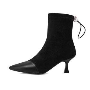 2021 new Ankle Boots Thin High Heel superfine fiber Women Shoes Autumn Winter Fashion Pointed Toe Ladies Boots Size 34-43