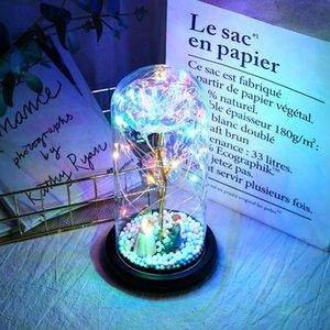 Rosa del tinsel con lampada a LED per sempre la lampada di rosa Le coppie decorano piccole luci notturne come regali romantici per Natale San Valentino Y0104