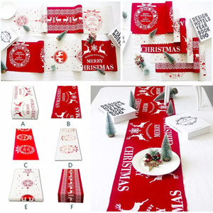 New Printed Linen Party Decoration 6 Styles Kitchen Dining Living Room Table Cover Merry Christmas Table Runner Xmas Tablecloth Flags Elk