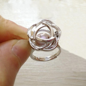 Lovely Cute Rose Flower Ring Can DIY Open & Put In Pearl Crystal Gem Stone Bead Cage Ring Mounting