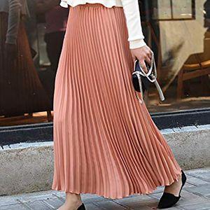 Women Solid Pleated Elegant Midi Elastic Waist Maxi Skirt Fashion Chiffon High Waisted Princess Skirts Travel Xes