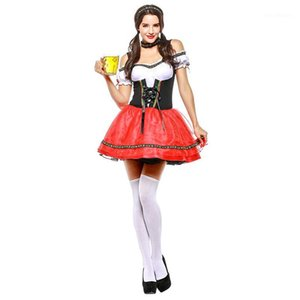 Sladuo Femmes Oktoberfest Halloween Costume Sexy Rouge Oponder Allemand Bière Bière Bière Beavarienne Festival Dress1