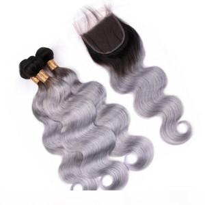 Onda corporal 1b Ombre gris Ombre Virgen brasileño Paquete de cabello humano con cierre Ombre Silver Grey Hair teje tramas con cierre delantero de encaje 4x4