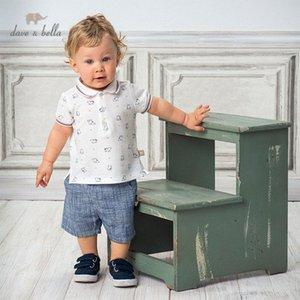 DB13136 Dave bella yaz erkek bebekleri moda baskı cepler giyim setleri çocuk yakışıklı kısa kollu setleri çocuk 2 adet fuXx # uyacak