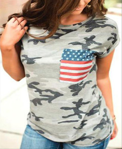 Plus Size Women Camouflage Printed t shirt Summer Short Sleeve American Flag Pocket T Shirt 2020 Casual Female Ladies Tops Tee