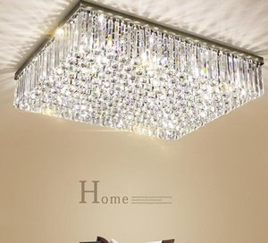 Contemporary Square Crystal Chandelier K9 Crystal Ceiling lights Luxury Flush Mount LED Crystal Light Lustres De Cristal for living room