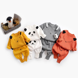 2Pcs Cute Set Baby Boys Girls Cartoon Long Sleeve T-shirt Pants Kids Toddler Clothes Suit Spring Autumn Y1113