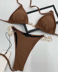 Italian Swimwear Spring Summer new high fashion paris chain letters printing Womens Swimwear tops high quality Brown Black 05