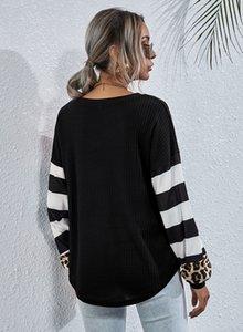 Kadınlar Leopard Çizgili Patchwork Tişört İlkbahar Sonbahar Gevşek Uzun Kollu Mürettebat Boyun Tees Dişi Kasetli Giyim
