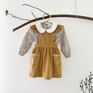 2020 New Autumn Baby Dresses Toddler Girls Corduroy Suspenders Flowers Embroidery Princess Overall Dresses Pocket Strap Dress