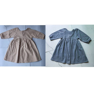 DB Newest INS Little Girls Organic Linen Cotton Dresses Long Sleeve O-collar Blank Beige Gray Children Girls Casual Princess Dress 539 K2
