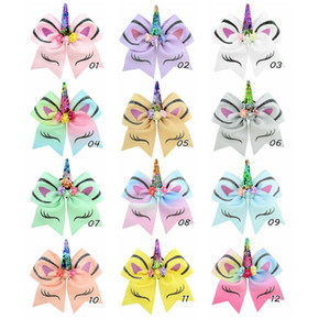 7 Zoll Sequin Cheer Bögen RegenbogenUnicorn Sequin Cheer-Bogen mit Elastic Band Glitter Printed Haarschleife mit Blumen Kinderhaarschmuck
