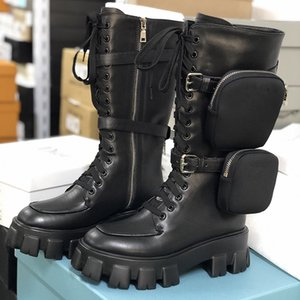 Femmes Boots Bottes Nylon Derby Demi Martin Bottes Battle Cuir Chaussures Chaussures de combat Bottes Black Caoutchouc Sole Plateforme Chaussures Nylon Pochette avec boîte