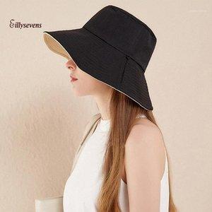 양면 착용 양동이 모자 베레렛 솔리드 와이드 브레 르크 Foldable Outdoors Bucket Sun Fisherman Hat Casquette Femme Été1