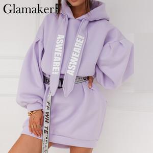 Glamaker Purple loose sweatshirt hoodies fashion women casual autumn long sleeve sweatshirt dress female oversize sweatshirt 201020
