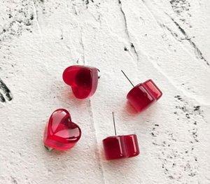 new red peach earrings winter cute mini earrings for women Korea transparent wine red peach heart love stud33