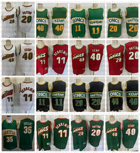 Seattle 1996 Vintage 20 a luva Gary Payton Kevin Durant 40 reinado homem shawn kemp 11 detlef schrempf jerseys de basquete preto