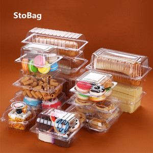 StoBag 50pcs Bread Transparent And Vegetable Strawberry Cherry Fruit Packing Pet Plastic Box For Party 201029