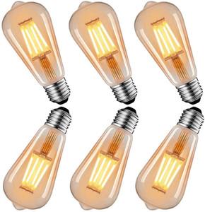 Bombillas de la vendimia, Dobee Edison 4W bombillas (40W Equivalente) Led filamento de la bombilla E27 Estilo ST64 2600-2700K antiguo retro 6 Pack 220V