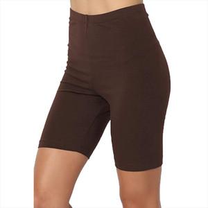 Polainas deporte de las mujeres Solid Media pierna de algodón elástico Span cintura alta activa femme vetement corto Legings