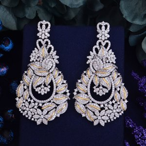 GODKI 72mm Luxury Popular Luxury Leaf Flowers Full Mirco Paved Crystal Zircon Naija Wedding Earring Fashion Jewelry C18110601