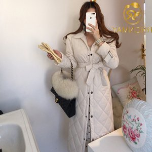 Korean Elegant Thicken Women Long Coat 2020 Winter Full Sleeve Single-breasted Belted Warm Fashion Ladies Outercoat Overcoat