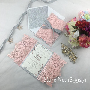 1full Set Blume Design Hellrosa Perle Hochzeitseinladungskarte mit Gleiter Papier Recycling arabische Hochzeitsgrüße danken Ihnen card1