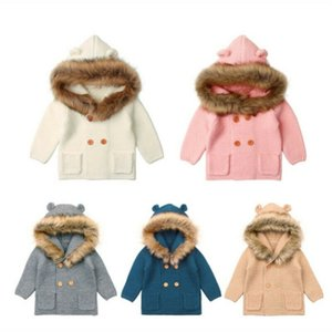 Winter Warm Newborn Baby Boy Girl Knit Hooded Coat Fur Collar Jacket Clothes Thick Autumn Clothing Y200919
