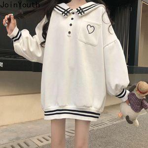 Joinyouth Sudaderas coreana 2020 de gran tamaño con capucha Ropa Harajuku lindo sudaderas a rayas Mujer Tops marinero Collar