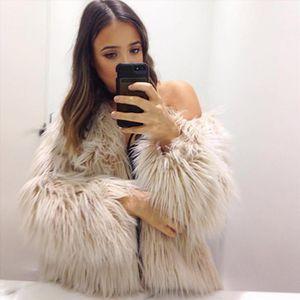 2017 New Winter Warm Faux Fur Fox Coat Jackets Casacos Femininos Long Sleeve Parka Hair Jacket Coat Outwear Plus Size WDC944