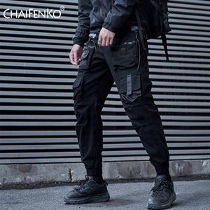 CHAIFENKO الأسود شحن الملابس الداخلية للرجال الهيب هوب الشارع الشهير ركض بنطال رياضة الأزياء المتناثرة الحريم بانت متعدد جيب سروال رجالي 201013