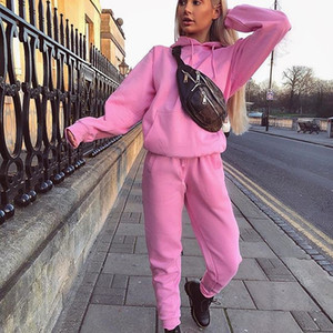 Autunno Pink Tops Autunno Casual Tracksuit Suit Suit 2020 Fashion Felpe con cappuccio Felpe 2piece Donne Set