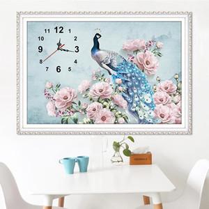 5D DIY voller Diamant-Malerei Wanduhr Pfau-Kreuz-Stich-Mosaik zu machen Diamant dekorative Malerei Home Decor