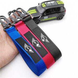 Car Seat belt material nylon cloth keychain embroidery key ring for Mini JCW Clubman Countryman Paceman R56 R55 R60 R61 F55 F56