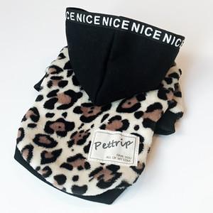 Warm cane cappotti con tappi di stampa del leopardo due piedi Pet Giubba autunnale e vestiti invernali per Pet Dog