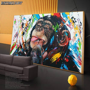 Animals Wall Art Canvas Paintings Graffiti Art Of Monkey Funny Posters Study Prints Street Pictures Monkey Decorative
