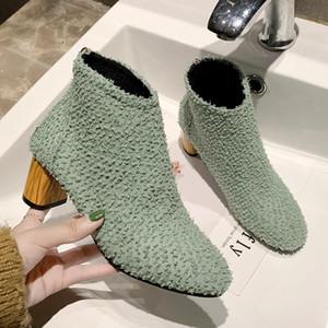 لطيفة جديدة مريحة الجدة الكاحل أحذية النساء الخريف ins شعبية الأحذية النمط الغربي امرأة ساحة عالية الكعب الإناث عارضة التمهيد