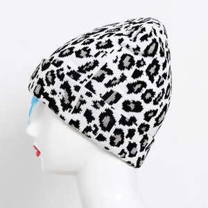 Winter Autumn Adult Women Men Leopard Printed Crochet Hat Unisex Printed Knit Warm Hats Skullies Unisex Caps