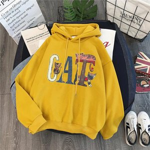 2020 Spring Hoodies Women Hooded Harajuku Thicker Plus Velvet Cartoon Cat Patchwork Leisure Girl Sweatshirts Womens Pullovers