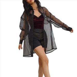 blouse women Mesh Transparent kimono Black Sheer womens tops and blouses Casual Perspective Long Sleeve top Shawl Outwear 7.8L3