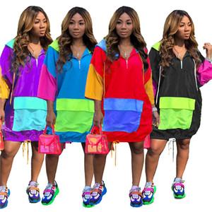 플러스 사이즈 느슨한 여성 드레스 캐주얼 패치 워크 3/4 슬리브 후드 여성 의류 여름 패션 풀오버 여성 드레스 4XL