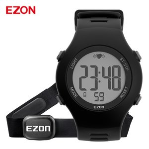 New EZON T037 Men Women Sports Wristwatch Digital Heart Rate Monitor Outdoor Running Watch Alarm Chronograph with Chest Strap LJ201126