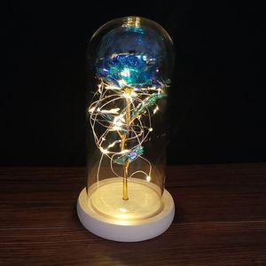 di 24k Gold Foil placcato della Rosa LED Eterna Fiore Immortale Dome a un vetro di copertura di San Valentino Day Flask Decorazioni di natale da GGA3766 mare