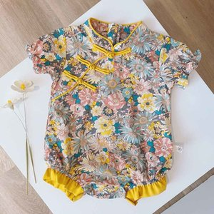 Halilo estilo chinês verão macacão floral roupas fofas para bebé 1º aniversário infantil onesie little girls jumpsuit c0126