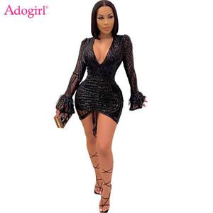 Adogirl Frauen Sexy Nachtclub Party Pailletten Kleid Tiefem V-Ausschnitt Feder Flare Sleeve Kordelzug Falten Bodycon Mini Kleider
