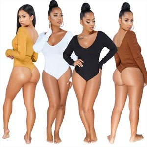 S XXXL Autumn Winter Bodysuits women Lady sexy Rib Full Sleeve Knitted V Neck beach Playsuits Bandage jumpsuits rompers WY6502