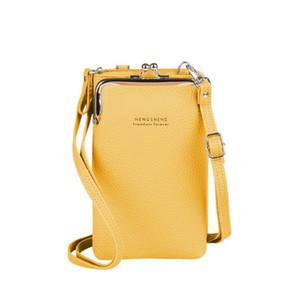Moda Mulheres Carteira Pequeno Crossbody Bags Mulheres Pu Couro Ombro Messengerbag Para Meninas Amarelo Ladies Phone Bolsa Zipper Flap