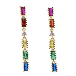 Summer Beach Luxury Charm Women Stack Drop Cz For Dangle Long Gift Rainbow Baguette Fashion Geometric Lady Jewelry Earring Atsoh