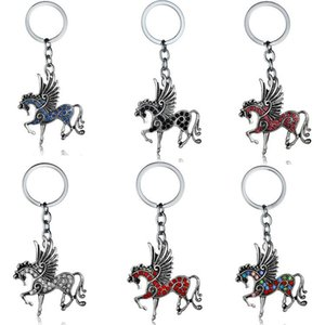 Antique Unicorn Keychains Diamond Animal Horse Charm Keyring Cartoon Key Rings Holder Fashion Metal Alloy Key Chain Gift Jewelry Accessories