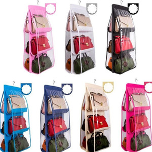 7 Colors Home 6 Pockets Handbag Purse Storage Bag Hanging Books Organizer Wardrobe Closet Hanger Double Sided Foldable Transparent PPA3366